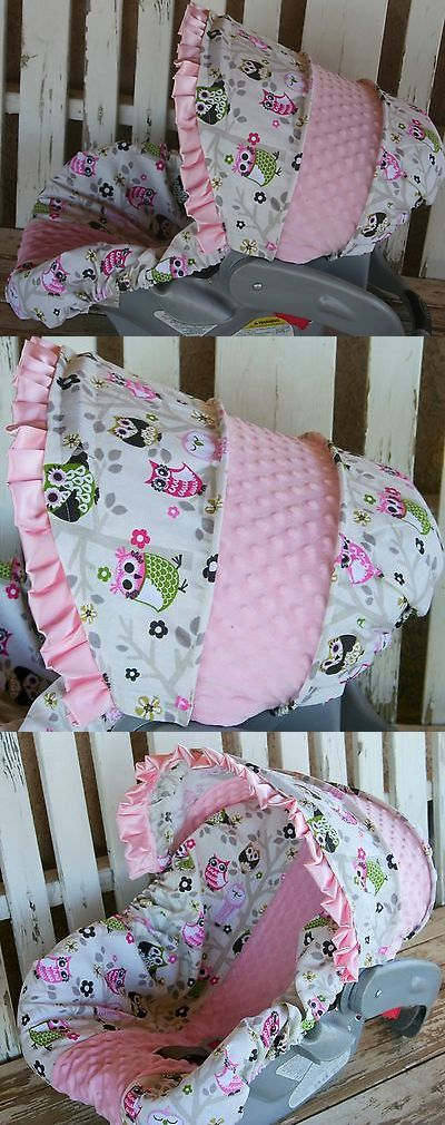 Car Seat Accessories 66693: Infant Car Seat Cover And Hood Cover Owls With Baby Pink Minky -> BUY IT NOW ONLY: $42 on eBay!