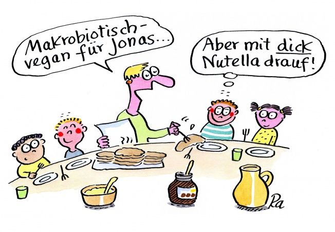 Kindergarten_KiGaPortal_Cartoon_Renate Alf_Makrobiotisch-vegan