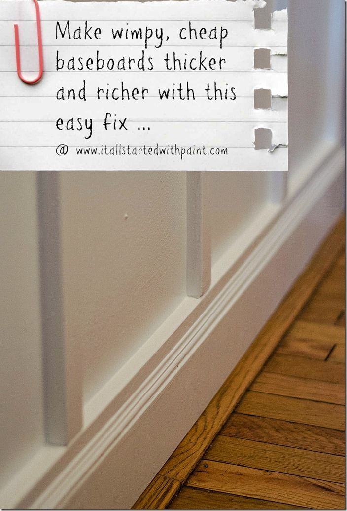 Easy tutorial on how to make baseboard moulding thicker and richer: