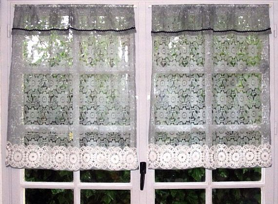 Grey Cafe Curtains Pair Kitchen Curtains Lace by HatchedinFrance
