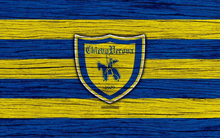 Download wallpapers Chievo, 4k, Serie A, logo, Italy, wooden texture, AC Chievo Verona, soccer, football, Chievo FC