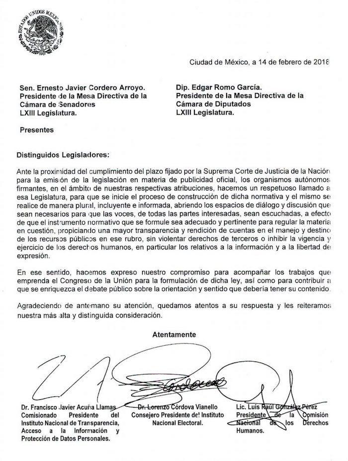 CNDH, INAI e INE urgen a discutir y regular la publicidad oficial ya, en carta conjunta al Congreso