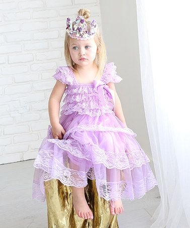 Lavender and ivory girl lace dress