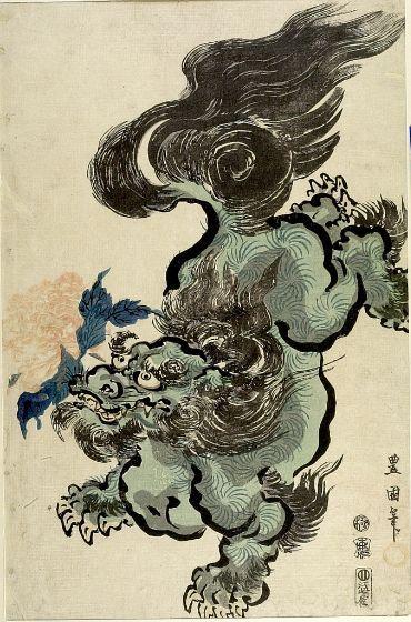 Utagawa Toyokuni, Lion with Peony, Japanese, Late Edo period, 1800, Harvard Art Museums/Arthur M. Sackler Museum.