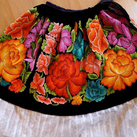 Mexican Embroidered Skirt Tehuana Black Velvet Vintage