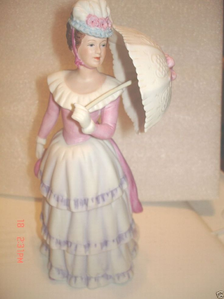 "Vintage HOMCO Figurine Lady with Parasol 1431 Home Interiors and Gifts 8.5"" tall"