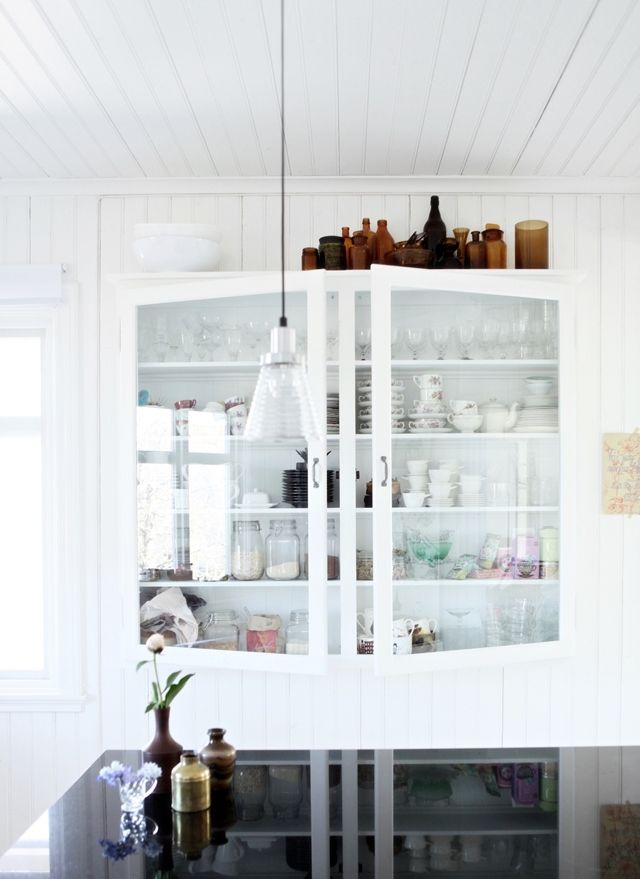 glass kitchen cupboards.