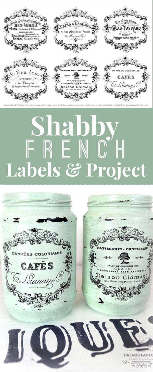 Schäbige französische Typografie-Etiketten und d…