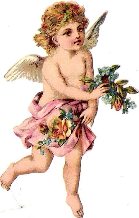 Oblaten Glanzbild scrap die cut chromo Engel angel  9cm  ange cherub