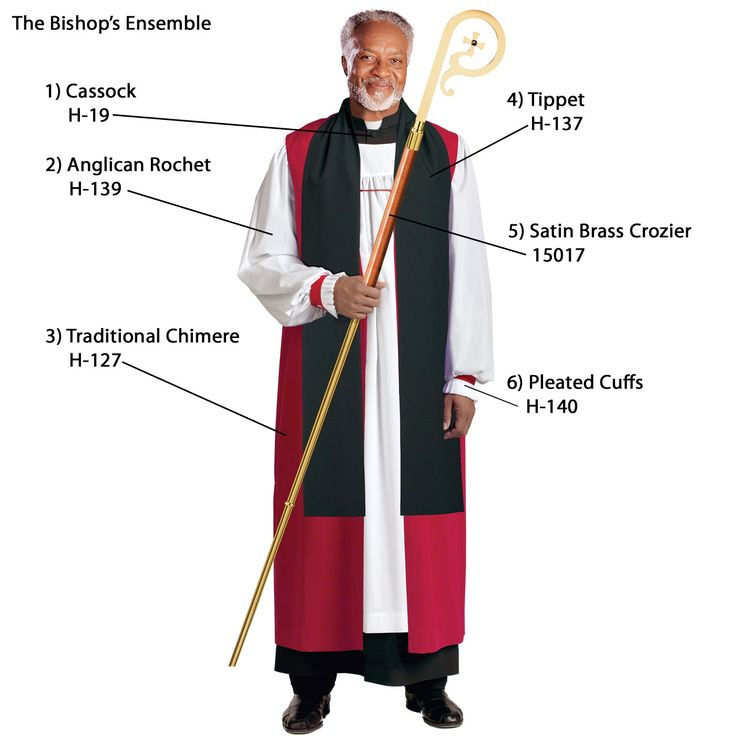What a Bishop wears:  Purple cassock then white rochet then black Chimere