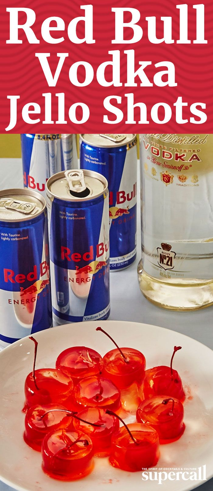 On their own, either Red Bull-Vodka or Jello Shots can fuel pretty much any night. But combine the two and you're in for a truly legendary evening. Easy to make and delicious to eat (as long as you're partial to that bittersweet Red Bull tang), these jiggly shots even come complete with their own handles, thanks to the cherry stems sticking out from each cup.