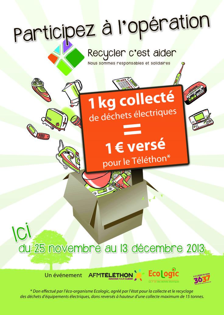 Opération Recycler c'est aider - Action initiée par Ecologic et l'AFM Téléthon pour le Téléthon 2013