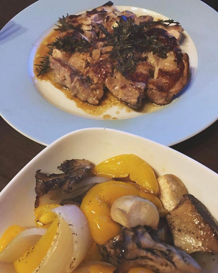 いいね!86件、コメント6件 ― Mitsu Seshimoさん(@meeetokyo)のInstagramアカウント: 「#男飯 #夕飯作りました#野菜のオーブングリル #レモンとローズマリーのチキンマリネ焼き #マリネは一晩寝かせました#レモンバターソース…」