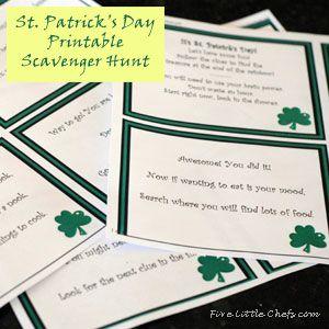 St. Patrick's Day Printable Scavenger Hunt from fivelittlechefs.com #printable #stpatricksday