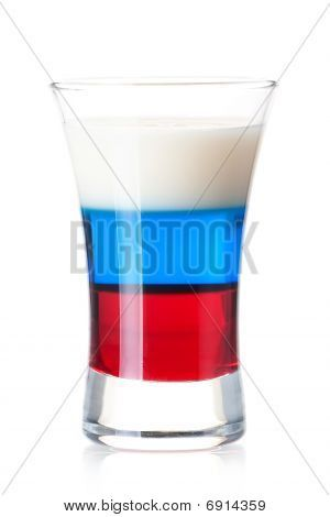 Picture or Photo of Shot cocktail collection: Russian Flag alcohol cocktail isolated on white background. Ingredients: 1 oz Grenadine 1 oz Blue Curacao 0.5 oz Vodka 0.5 oz  Irish Cream