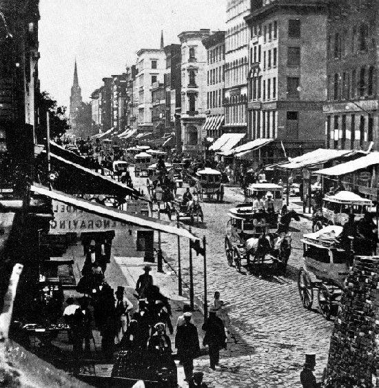 New York City 1800 | Omnibuses on Broadway, New York City, 1800s