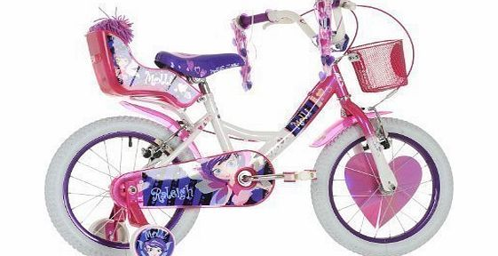 Raleigh Molli 16`` Childrens Bike - White and Pink - Girls. Our ever popular top selling girls bike Molli has had a makeover with a cool two tone paint finish and stunning new design, our new Molli bike looks a-ma-zing! Equipped w (Barcode EAN = 5051954170283) http://www.comparestoreprices.co.uk/childrens-bikes/raleigh-molli-16-childrens-bike--white-and-pink--girls-.asp