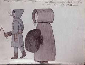 Canadian Man and Woman in their Winter Dress, Quebec, by Sempronius Stretton, 1805