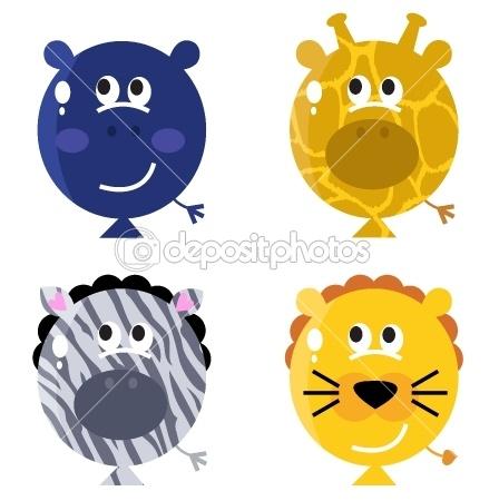 Cute animal balloon faces set.  Idea to make hippo balloons