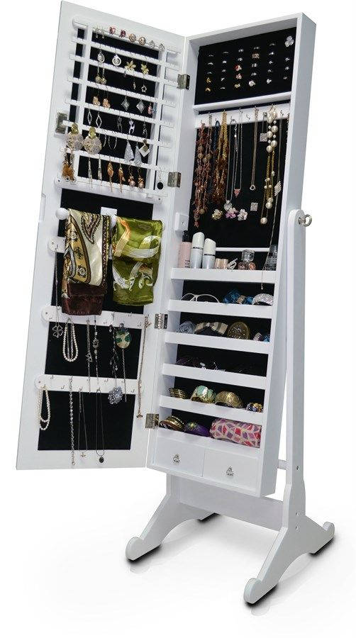 You'll enjoy storage galore with our Wessex Floor Mirror. Not only does it reflect via its center-hinge-tilting mirror, it opens up to reveal an extensive jewelry cabinet featuring six shelves, two pull-out drawers and an abundant supply of hooks. Whether you need to store earrings, rings, necklaces, bracelets, scarves or sunglasses, this is the floor mirror for you.Features:Standing Body-Length Floor Mirror with Integrated Jewelry CabinetDressing mirror opens to reveal a jewelry…