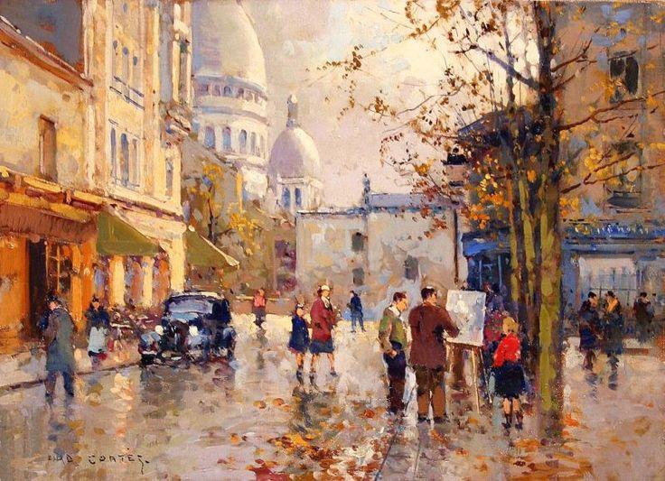 Edouard Leon Cortes - La Place du Tertre et le Sacre Coeur