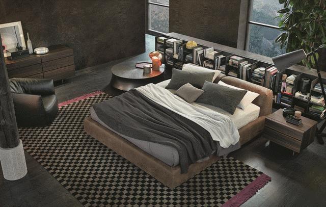 POLIFORM: Bolton bed, Pandora night table and chest, Slego wall bookcase, Soori smal table and Santa Monica armchair