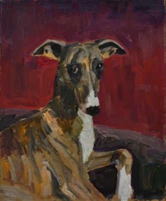 Rodgerson,Jenny Whippet Portrait 2 Oil on board Image Size: 30 x 25cm