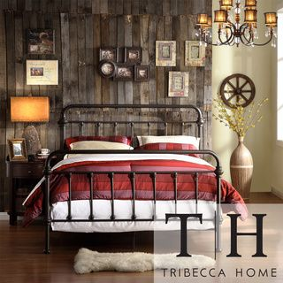 @Overstock.com - TRIBECCA HOME Giselle Black Graceful Lines Victorian Iron Metal Bed - This bed frame features seven spindles in the headboard and footboard with elegance crafted casting at each joint. The metal bed creates a unique modern style that is sophisticated, yet simple and can be accented to compliment any decor. $305.99