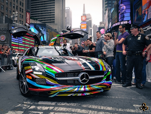 """Cars For 3000: Colourful Mercedes SLS Gumball 3000 Car.""""sweet Gull Wing"""