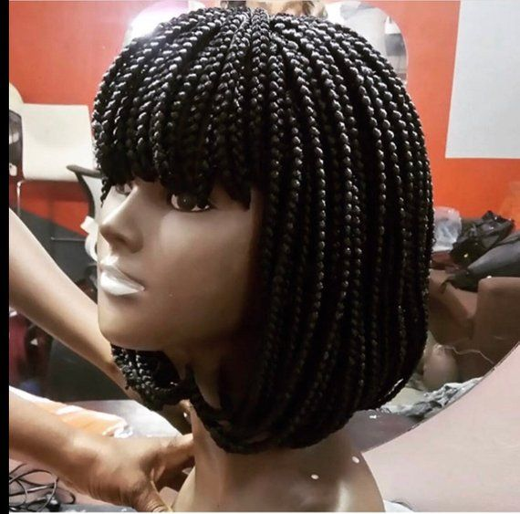 Braided Wig Bang Braided Wig Fringe Bob With Box Braids