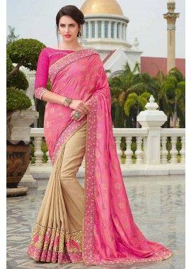 couleur de brocart rose et beige & sari de soie, -  198,00 €,  #Sariindienmariage  #Sariindien2017  #Robepakistanaise  #Tuniqueindiennefemme  #Tenueindienne  #Shopkund
