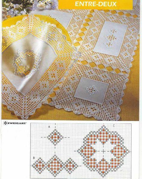 Centro e caminho de mesa com crochê e bordado