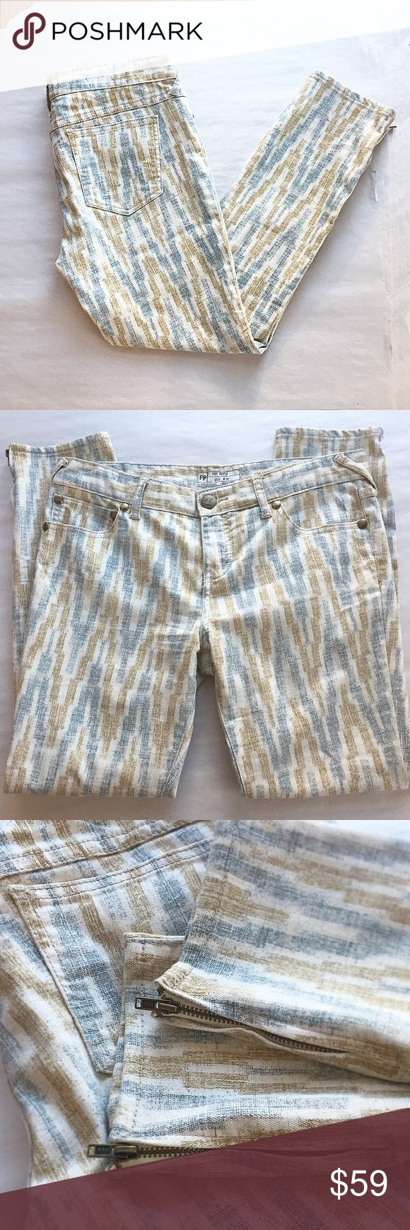 Free People Aztec print skinny jeans These bodacious jeans are the best! Only worn twice, in perfect condition! Zipper ankle detail. Regular rise. Size 8 (29). Free People Pants Skinny