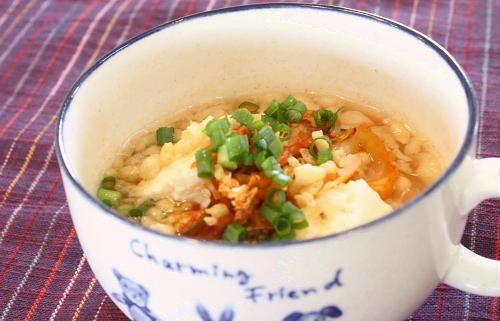 今日のキムチ料理レシピ:豆腐とキムチのレンジスープ