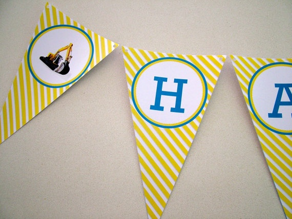 construction bunting by McPartyNZ on Etsy, $24.00