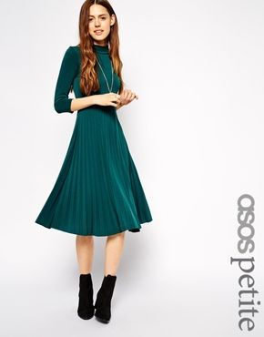 ASOS+PETITE+Pleated+Skater+Dress+with+High+Neck+and+3/4+Sleeves