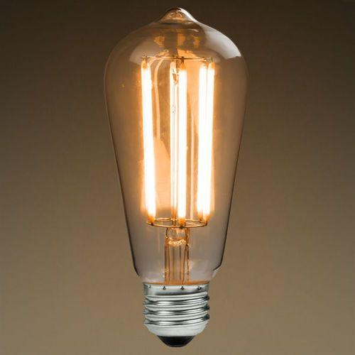 LED Antique Filament Bulb Edison Style ST58 6 Watt 60W Equivalent 2200K Warm White E26 Base Dimmable Amber Glass Finish
