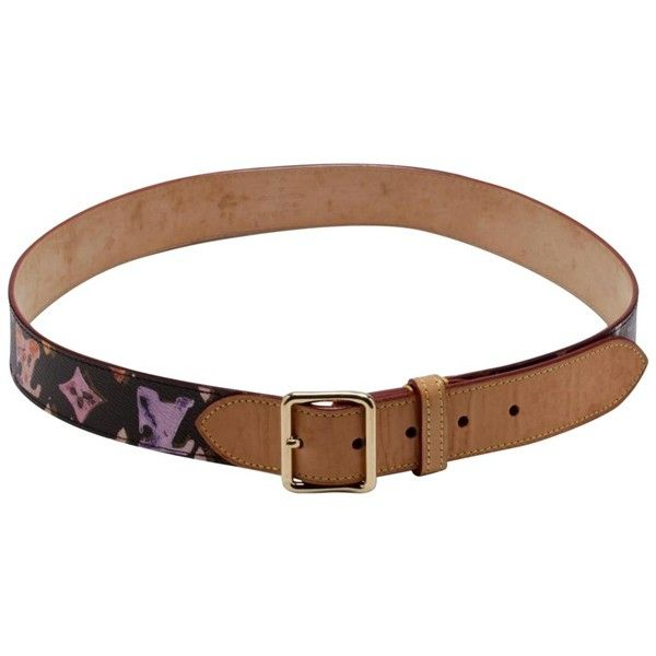 Pre-owned Belt made of Monogram Watercolor ($505) ❤ liked on Polyvore featuring accessories, belts, black, leather belt, real leather belts, monogram belt, louis vuitton and genuine leather belt