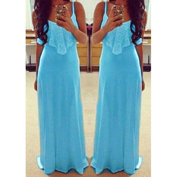 Wholesale Alluring Spaghetti Strap Sleeveless Spliced Solid Color Women's Dress Only $3.74 Drop Shipping | TrendsGal.com