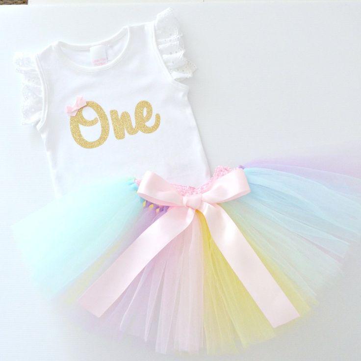 Pastel Rainbow Tutu & Gold Glitter 1st Birthday Outfit and Cake Smash Set