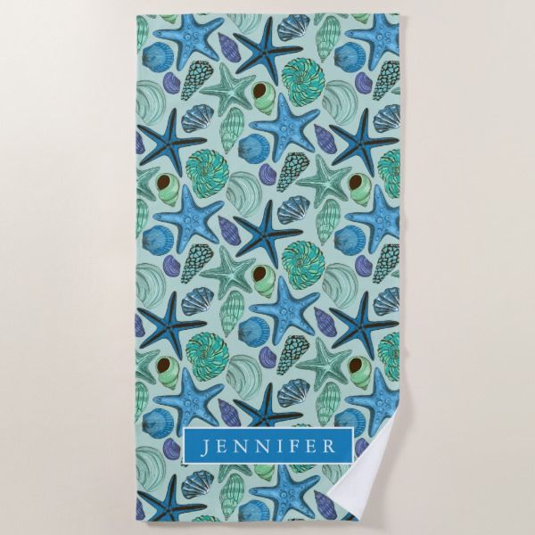 Add Your Name Shades Of Blue Seashells And Starf Beach Towel