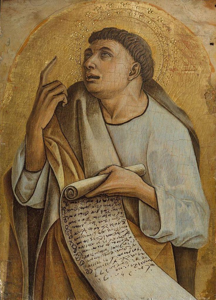 569. Carlo Crivelli - Polittico di Montefiore dell'Aso - Apostolo con cartiglio - 1471 - New York, Metropolitan Museum
