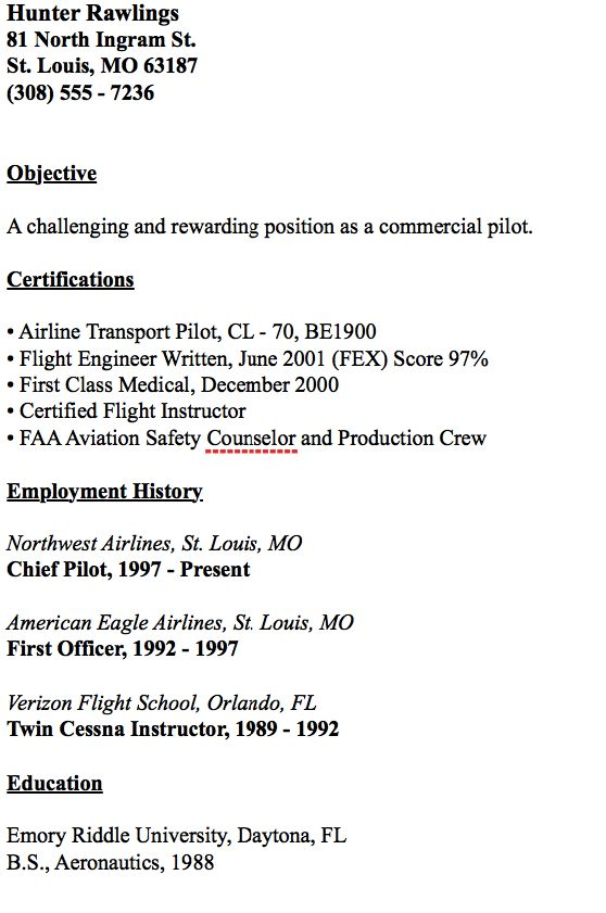 Example Of Chief Pilot Resume -    resumesdesign example - pilot resume