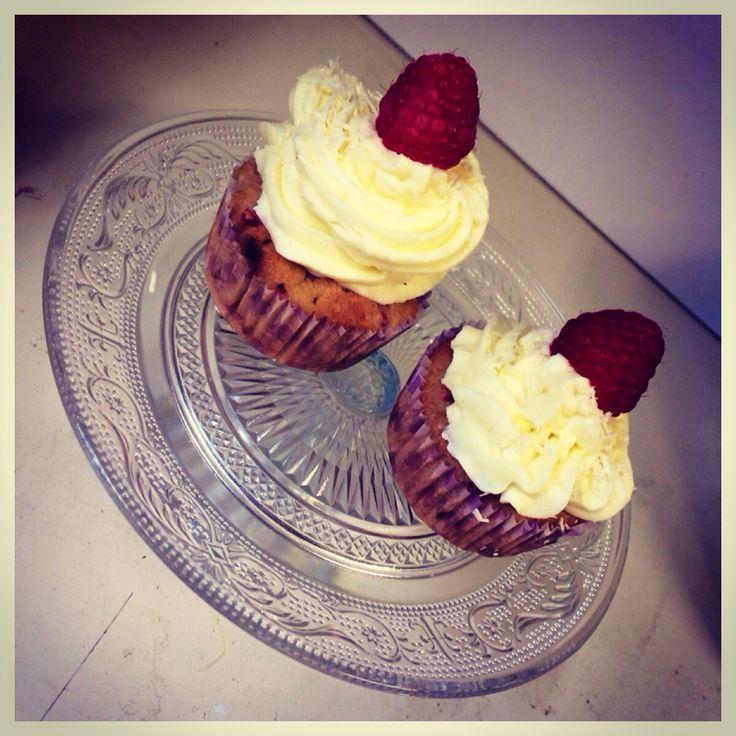 Framboos en witte chocolade muffin!!