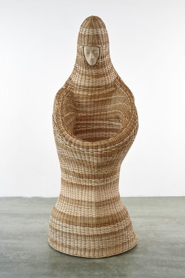 Paloma Varga Weisz - Basket woman, 2016  wicker, carved lime wood, steel rods  approx. 240 x 100 x 100 cm. German contemporary art.