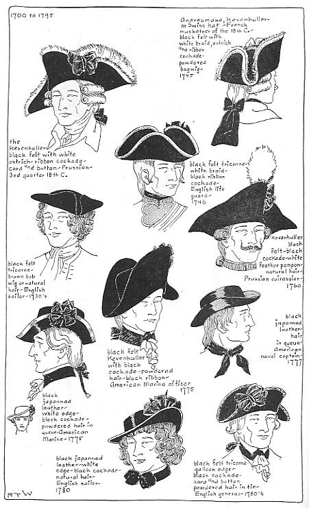 18th century hats america | 18th century Men's headwear