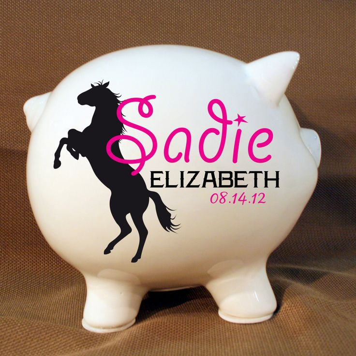 "8"" Horse Style Personalized Piggy Bank – Custom Piggy Bank, Pony Piggy Bank, Custom Girls Bank, Western Decor, Cowgirl Decor"
