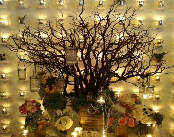 Mason jar wall wedding decor #masonjars