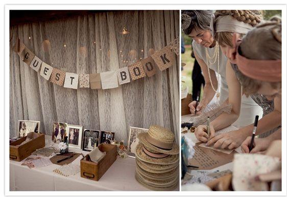Idea para que los invitados escriban a los novios en boda campestre.