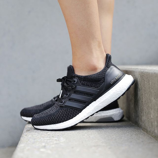 TODAY'S CRUSH!  The black Adidas UltraBOOST W is now available!  The Ultra Boost is specifically designed to provide a natural running flow. This womens' running features a sock-slip Adidas Primeknit upper along with the iconic energy-returning plush boost Mid-sole allowing extreme stability and cushioning through every step.  #SupplyingGirlsWithSneakers